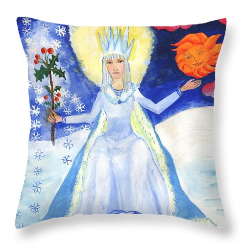 Winter Throw Pillow featuring the painting Spirit Of Winter by Sushila Burgess