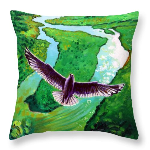 Seagull Throw Pillow featuring the painting Spiritually Minded by John Lautermilch