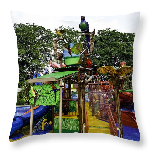 Asia Throw Pillow featuring the photograph Splash Zone Inside The Jurong Bird Park In Singapore by Ashish Agarwal