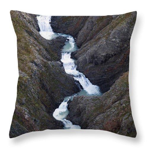 Mp Throw Pillow featuring the photograph Split Creek Cascading Down Brabazon by Matthias Breiter