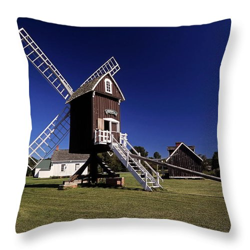 Spocott Windmill Throw Pillow featuring the photograph Spocott Windmill by Sally Weigand