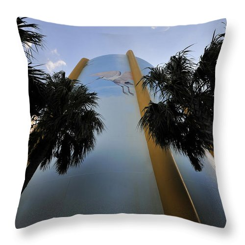 Fine Art Photography Throw Pillow featuring the photograph Spoonbill Through Palms by David Lee Thompson