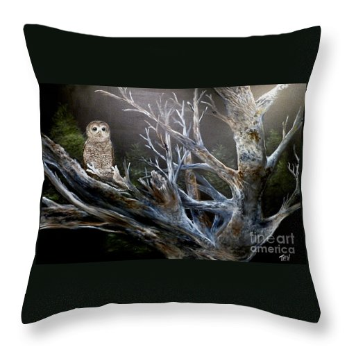 California Spotted Owl Throw Pillow featuring the painting Spotted Owl In Tree by John Garland Tyson