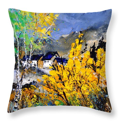 Landscape Throw Pillow featuring the painting Spring 45214032 by Pol Ledent