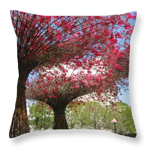 Getty Center Throw Pillow featuring the photograph Spring Bloom At The Getty by Caroline Lomeli