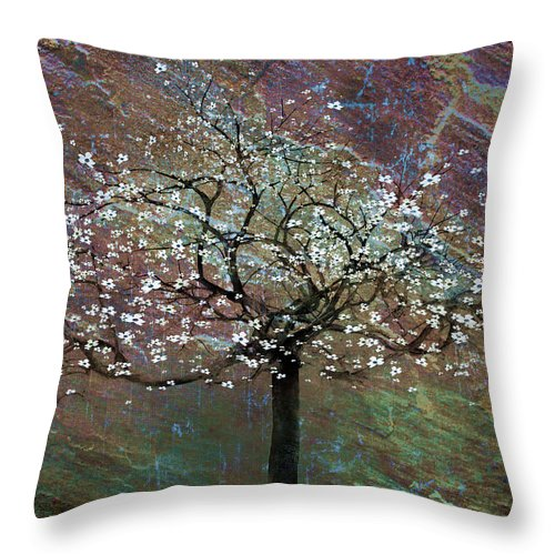 Tree Throw Pillow featuring the painting Spring Dreaming by Gray Artus