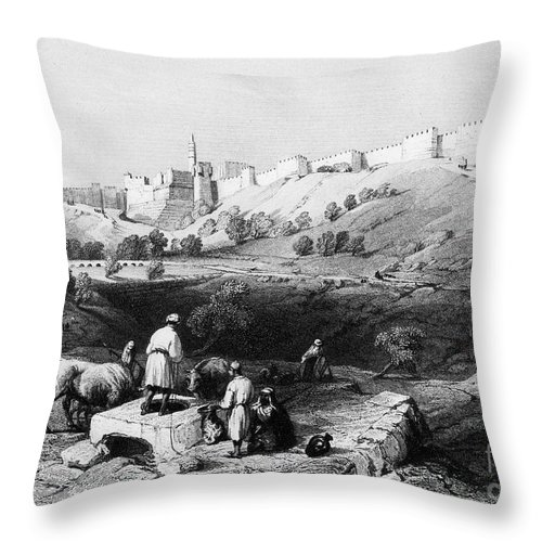 1843 Throw Pillow featuring the photograph Spring Of Gihon by Granger