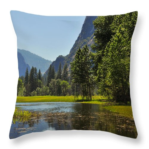 Yosemite Throw Pillow featuring the photograph Spring Thaw by Lynn Bauer