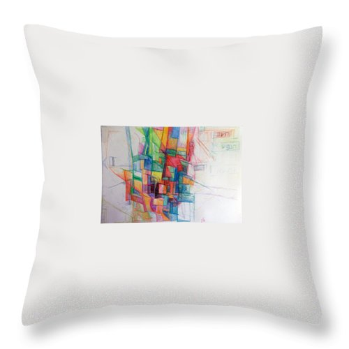 Heshbon Hanefesh Throw Pillow featuring the drawing Spritual Accounting by David Baruch Wolk