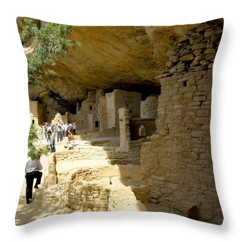 Spruce Tree House Throw Pillow featuring the photograph Spruce Tree House by FeVa Fotos