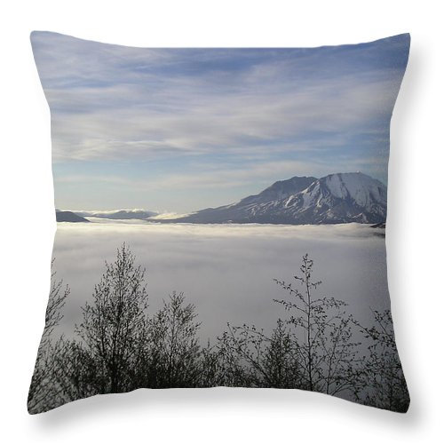 Mt St Helens Throw Pillow featuring the photograph St Helens Above Clouds by Catherine Helmick