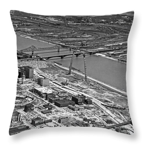 1960's Throw Pillow featuring the photograph St. Louis Arch Construction by Underwood Archives