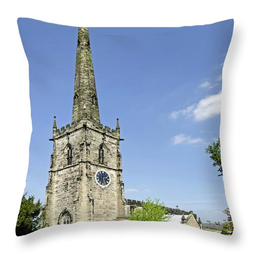 Derbyshire Throw Pillow featuring the photograph St Wystan's Church - Repton by Rod Johnson