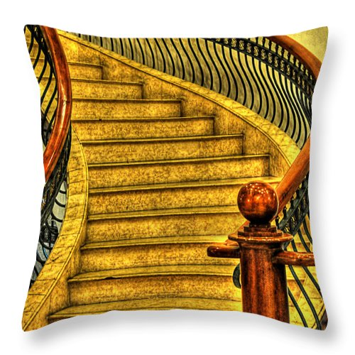 Stairs Throw Pillow featuring the photograph Stairs Hdr Processing by Charuhas Images