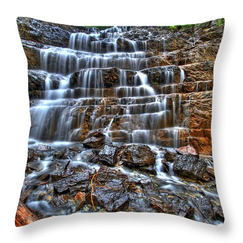 Waterfall Throw Pillow featuring the photograph Stairs Of Water by Scott Mahon