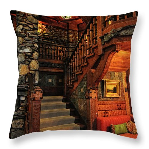Gillette Castle Throw Pillow featuring the photograph Stairway In Gillette Castle Connecticut by Dave Mills
