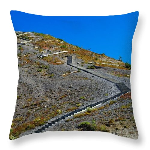 Stairs Throw Pillow featuring the photograph Stairwell To Windy Point by Jeff Swan