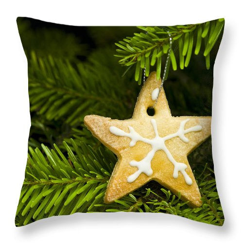 Advent Throw Pillow featuring the photograph Star Shape Short Bread Cookie by U Schade