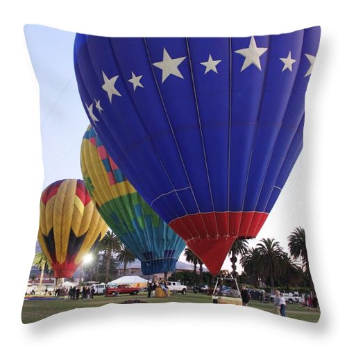 Balloons Throw Pillow featuring the photograph Stars Galore by Caroline Lomeli