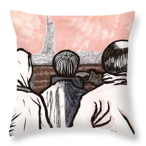 Ferry Throw Pillow featuring the drawing Staten Island Ferry Nyc by Al Goldfarb