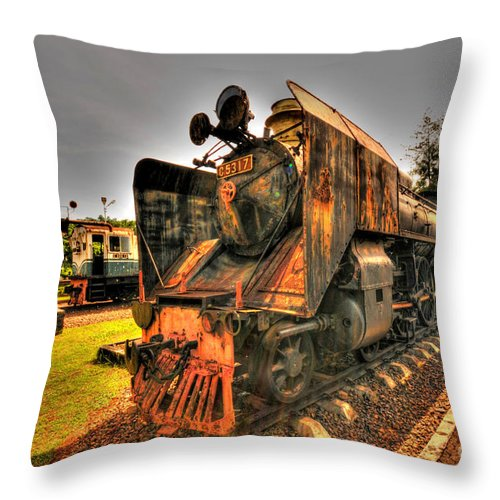 Railway Throw Pillow featuring the photograph Steam Engine by Charuhas Images