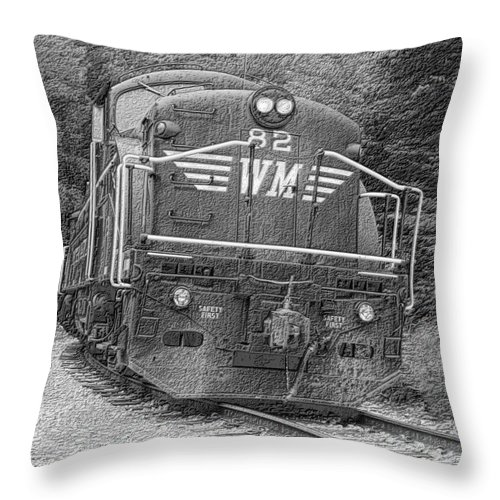 Train Throw Pillow featuring the digital art Steam Engine Eighty Two by Denise Jenks