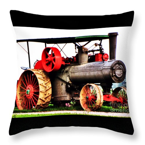 Oil Throw Pillow featuring the photograph Steam Engine Tractor by September Stone