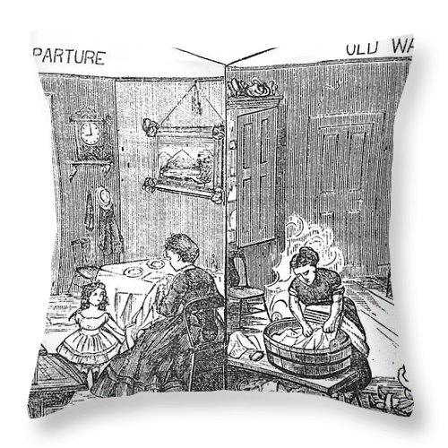 1872 Throw Pillow featuring the photograph Steam Washer, 1872 by Granger