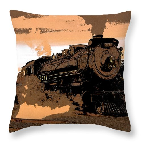 Pennsylvania Throw Pillow featuring the photograph Steamtown Engine 2317 - Posterized by Rich Walter