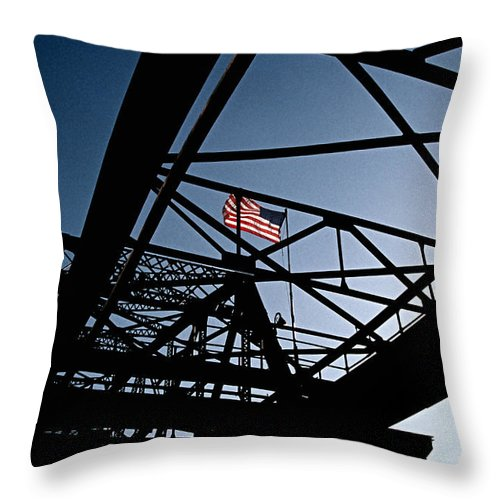 Nautical Throw Pillow featuring the photograph Steel Bridge With American Flag by Gabe Palmer