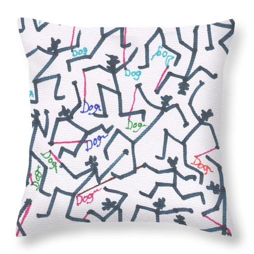 Abstract Throw Pillow featuring the drawing Stickmen Characters With Dogs Two by Carl Deaville