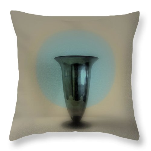 Vase Throw Pillow featuring the photograph Still Life - Silver Chalice by Kathleen Grace