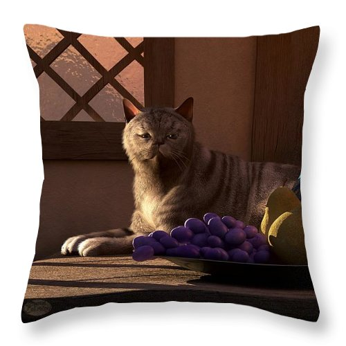 Cat Throw Pillow featuring the digital art Still Life With Wine Fruit And Cat by Daniel Eskridge