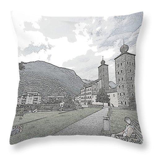 Castle Throw Pillow featuring the photograph Stockalper Castle by Pravine Chester