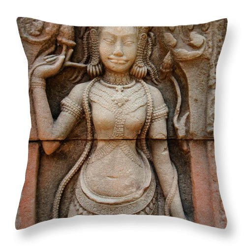 Ta Prahm Throw Pillow featuring the photograph Stone Carving 2 by Bob Christopher