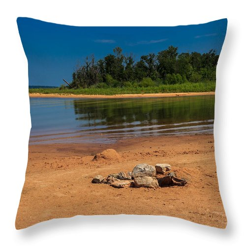 Norman Oklahoma Throw Pillow featuring the photograph Stones On The Beach by Doug Long