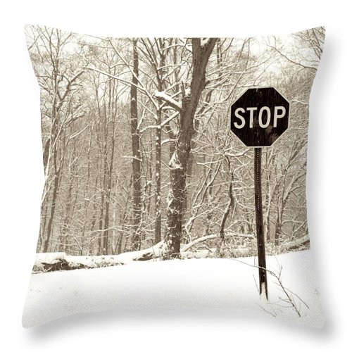 Road Sign Throw Pillow featuring the photograph Stop Snowing by John Stephens