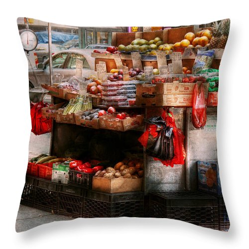Chelsea Throw Pillow featuring the photograph Store - Ny - Chelsea - Fresh Fruit Stand by Mike Savad