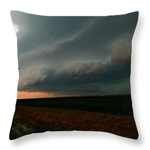Clouds Throw Pillow featuring the photograph Storm Front by Debbie Portwood