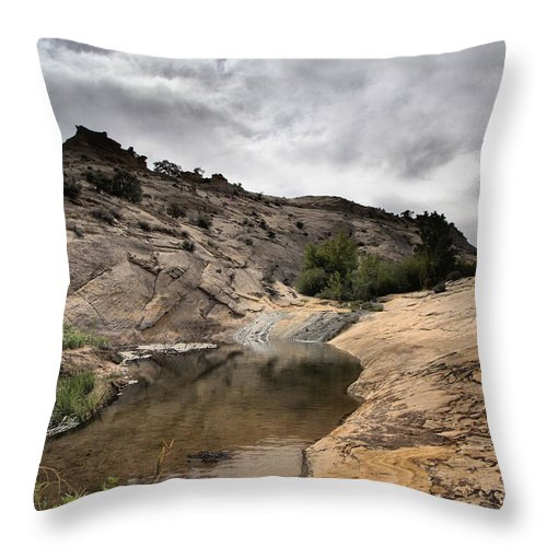 Upper Calf Creek Throw Pillow featuring the photograph Storm On The Horizon by Adam Jewell