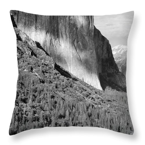 Black&white Throw Pillow featuring the photograph Storm Over El Capitan by Sandra Bronstein
