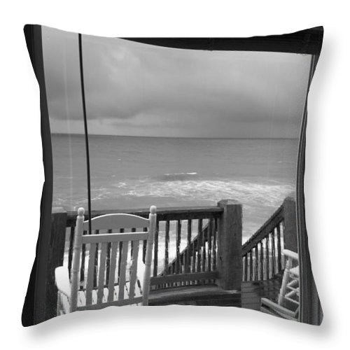 Beach Throw Pillow featuring the photograph Storm-rocked Beach Chairs by Betsy Knapp