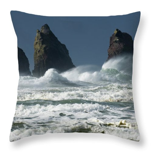 Rocks Throw Pillow featuring the photograph Storm Warning by Bob Christopher
