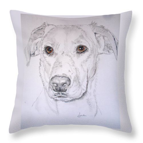 Dog Throw Pillow featuring the painting Stormy by Janet Lavida