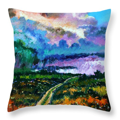Country Road Throw Pillow featuring the painting Stormy Road by John Lautermilch