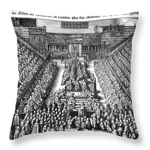 1641 Throw Pillow featuring the photograph Strafford Trial, 1641 by Granger