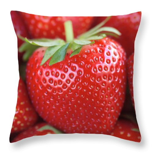 Strawberries Throw Pillow featuring the photograph Strawberries by Neil Overy