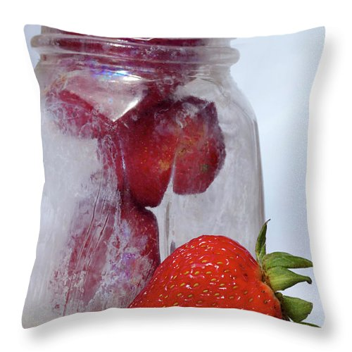 Strawberries Throw Pillow featuring the photograph Strawberry Jam by Phyllis Denton
