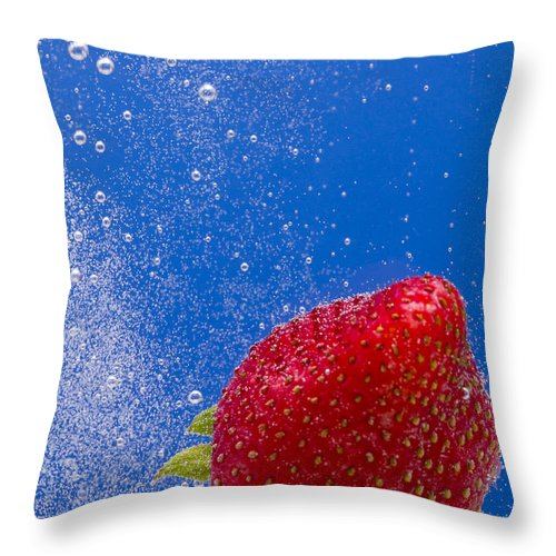 Red Throw Pillow featuring the photograph Strawberry Soda Dunk 4 by John Brueske