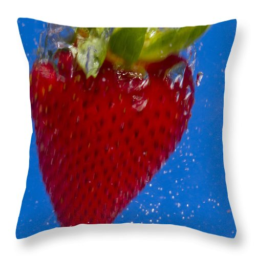 Red Throw Pillow featuring the photograph Strawberry Soda Dunk 7 by John Brueske